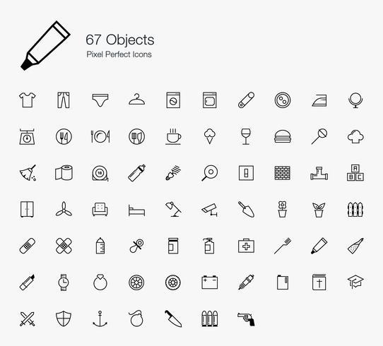 67 oggetti Pixel Perfect Icons Stile di linea. vettore