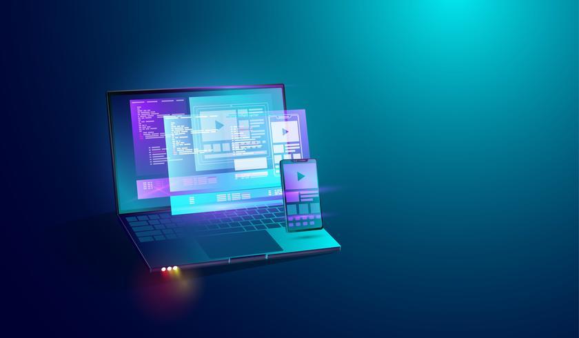 Sviluppo di applicazioni mobili sullo sfondo di concetto di schermo portatile, codifica delle applicazioni e dispositivi di piattaforma di sviluppo web cross smartphone, tablet e computer. vettore. vettore