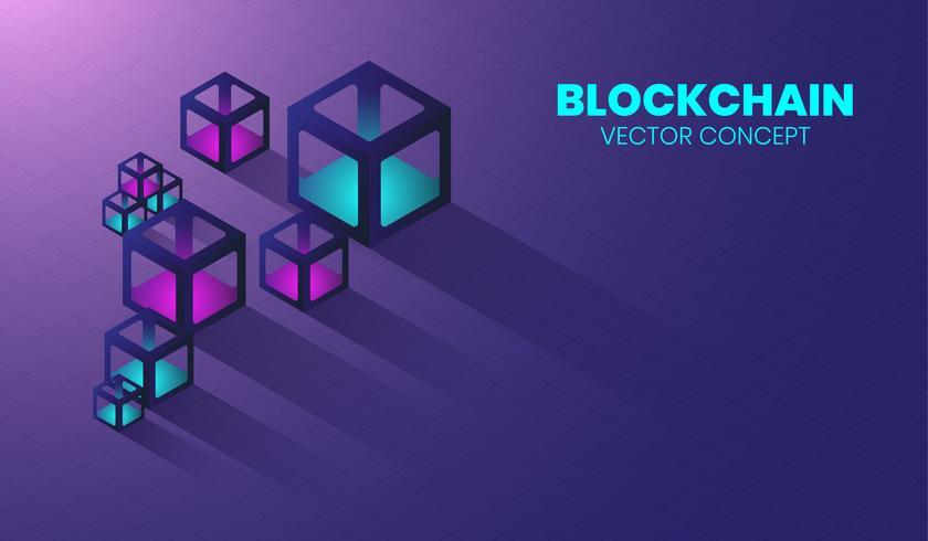 Blockchain nuova tecnologia in 3d box e concetto isometrico, cytocurrency digitale, sistema cyber elettronico. vettore