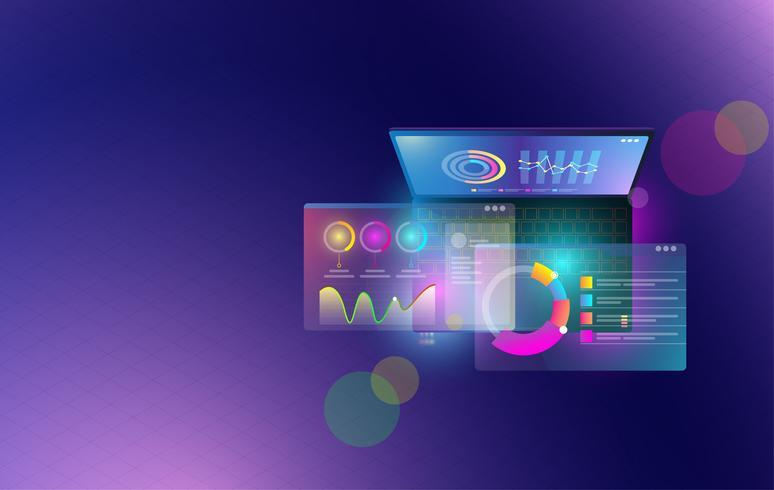Analitica finanziaria e elementi infographic di affari sul concetto del computer portatile dello schermo. Insieme isometrico di infografica con dati finanziari grafici o diagrammi e dati statistici di statistica vettoriale. vettore