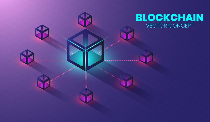 Concetto di tecnologia di blockchain isometrica, forma della catena di blocco collegati tra loro. vettore