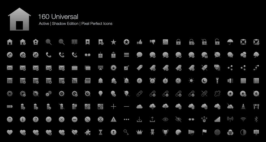 160 Universal Web Pixel Perfect Icons (Filled Style Shadow Edition). vettore