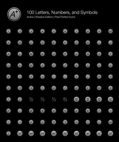 100 lettere, numeri e simboli Pixel Perfect Icons (Filled Style Shadow Edition). vettore