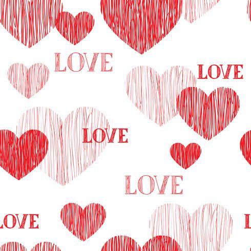 Modello senza cuciture del cuore di amore Felice giorno di San Valentino sfondo vettore