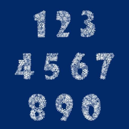 Numeri impostati dal fiocco di neve. Vedi anche lo sfondo vettore