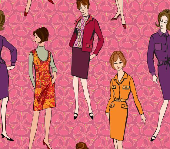 Stile vintage anni '60 ragazza vestita. Modello senza cuciture di retro moda partito. vettore