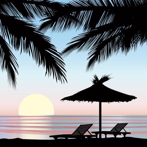 Sfondo vacanze estive. Vista al mare. Carta da parati resort balneare vettore