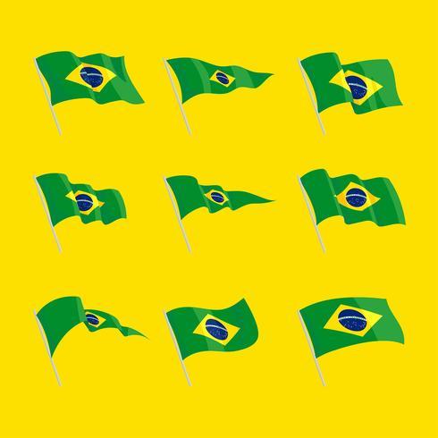 Insieme di clipart della bandiera di Wavin del Brasile vettore