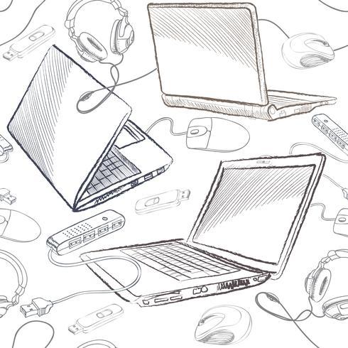 Fondo senza cuciture del collegamento dei computer del modello senza cuciture del computer portatile. vettore