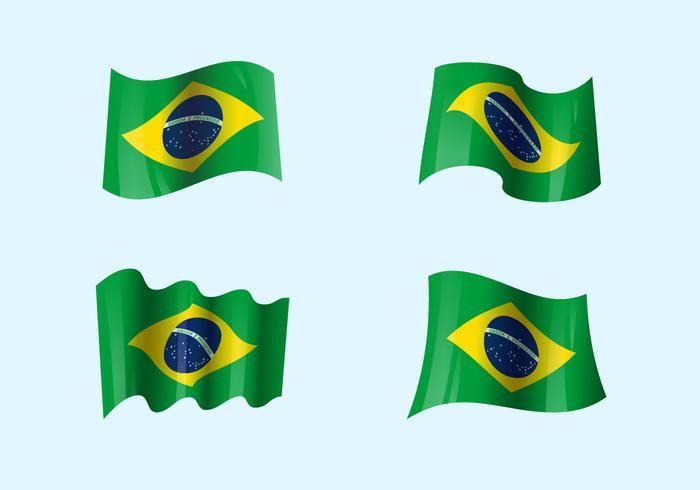 Bandiere brasilistiche realistiche vettore