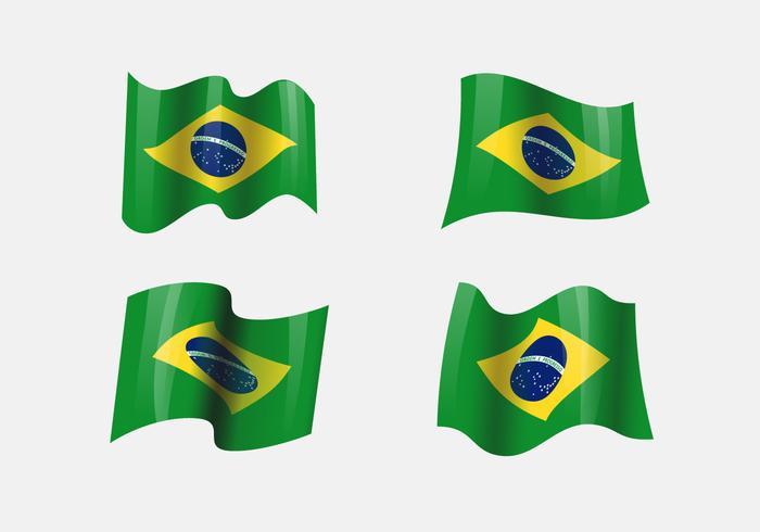 Clipart realistico delle bandiere del Brasile vettore