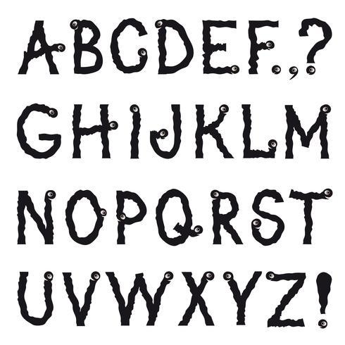 Alfabeto latino. Carattere decorativo linea grunge. Set di caratteri vettore