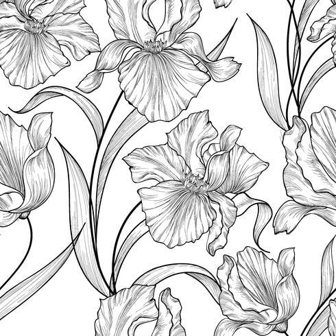 Motivo floreale senza soluzione di continuità. Priorità bassa dell'incisione dell'iride del fiore. vettore