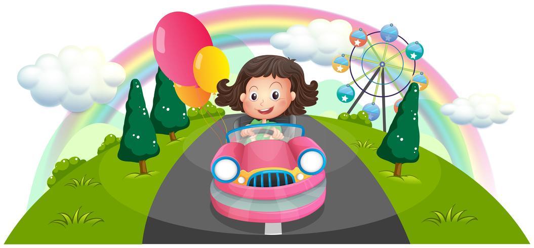 Una ragazza in sella a una macchina rosa con palloncini vettore