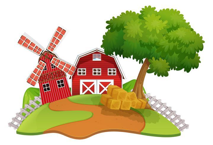 Scena di fattoria con fienile e mulino a vento vettore