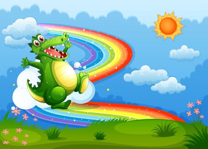 Un arcobaleno nel cielo con un coccodrillo verde vettore