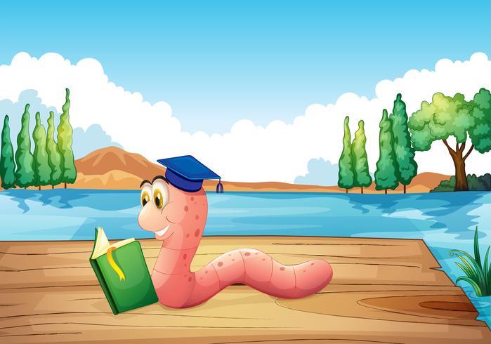 Un verme che legge un libro vicino allo stagno vettore