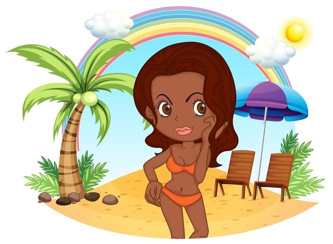 Una signora abbronzatura in un bikini arancione in spiaggia vettore