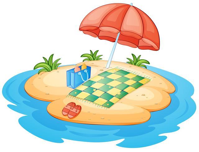 Un'isola con un ombrello e una coperta vettore
