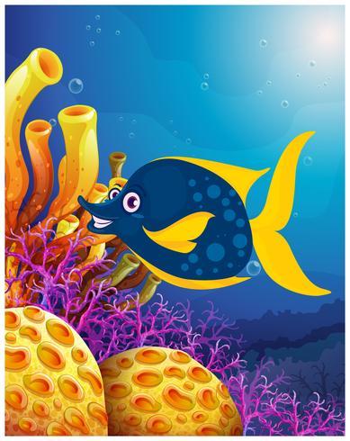 Un grande pesce sorridente vicino alle barriere coralline vettore