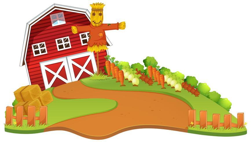 Scena dell'azienda agricola con lo spaventapasseri e l'orto vettore