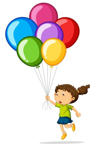 Ragazza che tiene palloncini colorati vettore