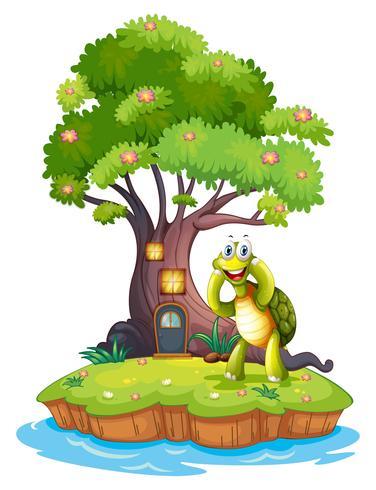 Un'isola con un grande albero e una tartaruga vettore