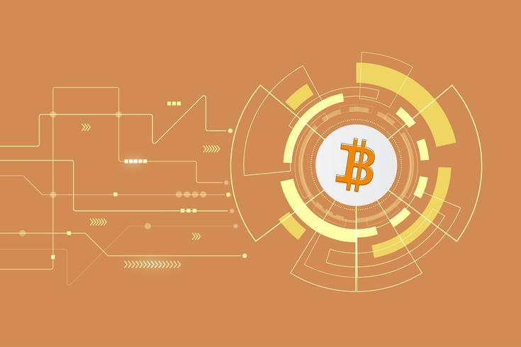 Illustrazione crypto astratta del fondo di tecnologia di blockchain di bitcoin del bitcoin vettore