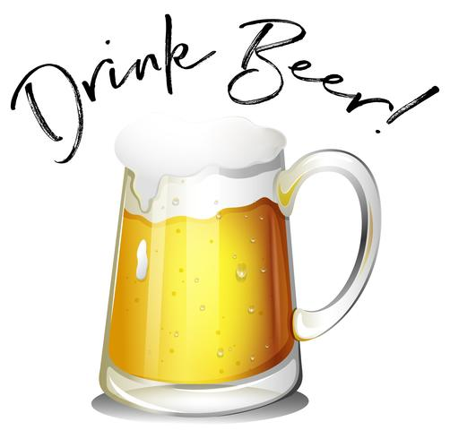Bicchiere di birra con birra bevanda frase vettore