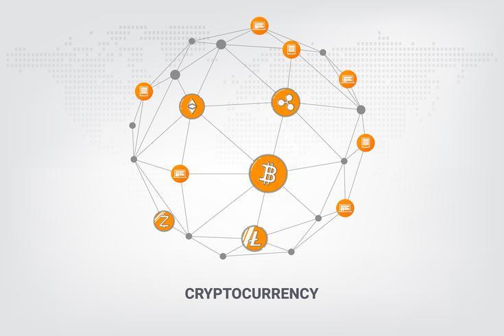 Tecnologia di rete blockchain di criptovaluta denaro digitale sulla linea di fondo geometrico. illustrazione vettoriale. vettore