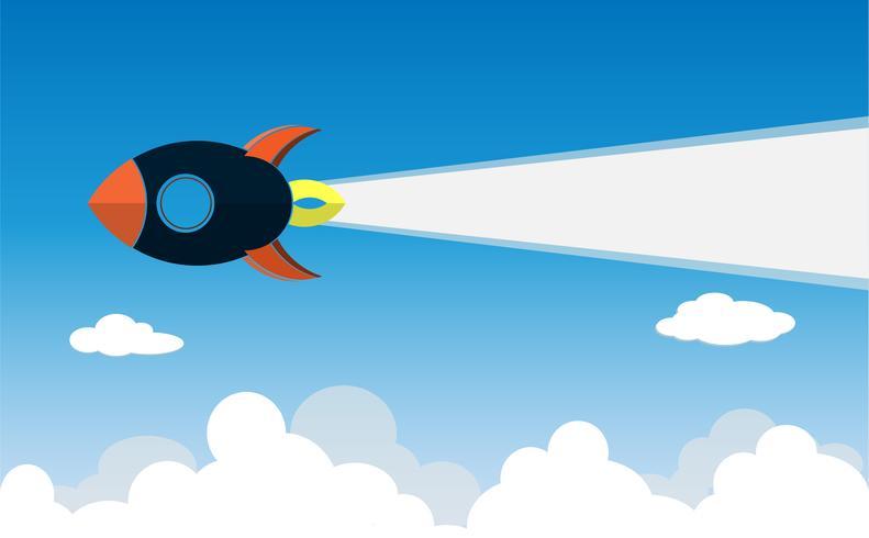 progetto di business startup razzo volare sopra le nuvole vettore