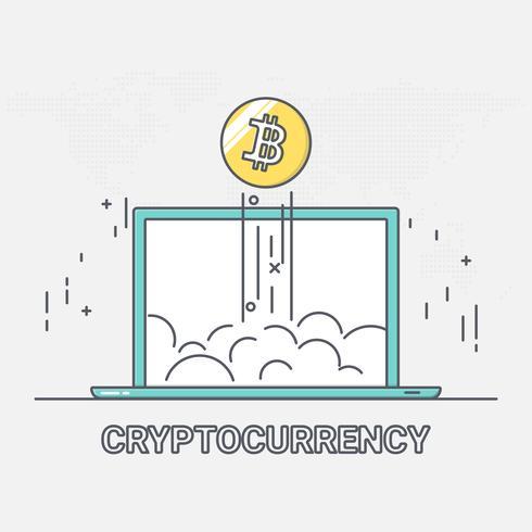 Tecnologia di rete blockchain di denaro digitale criptovaluta. crescita di bitcoin. stile arte linea sottile. vettore