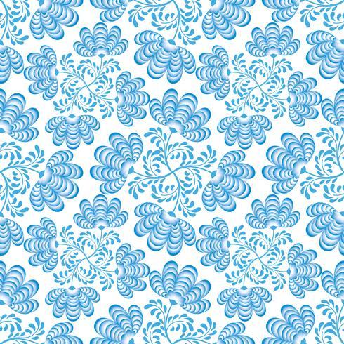 Swirl motivo floreale senza soluzione di continuità. Fiorisca ornamentale nello stile russo sopra priorità bassa bianca. vettore