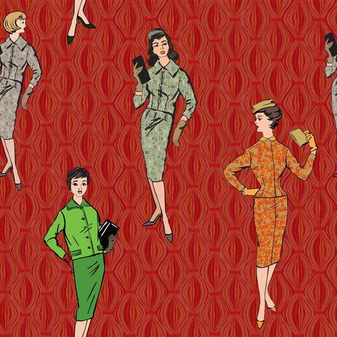 Stile vintage anni '20 della ragazza vestita. Modello senza cuciture di retro moda partito. vettore