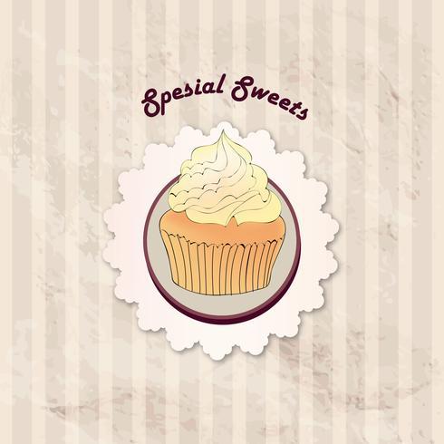 Torta. Sfondo del menu Cafe. Etichetta da forno. Poster dolce, dessert vettore