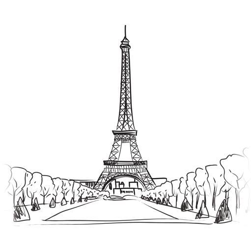 Paesaggio della città di Parigi Torre Eiffel famoso punto di riferimento. Viaggiare in Francia. vettore