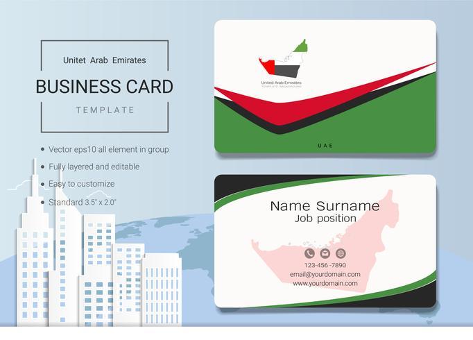 Modello di progettazione di carta di nome astratto business dei UAE. vettore