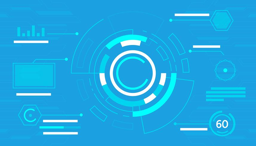 Interfaccia blu astratta di tecnologia hud vettore