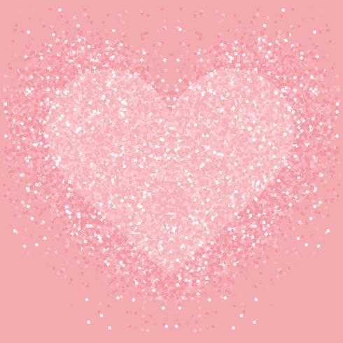 Cuore glitter rosa pastello. Shimmer ama lo sfondo. vettore