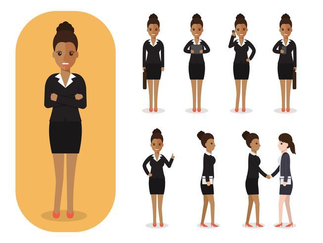 Set di imprenditrice al lavoro. vettore