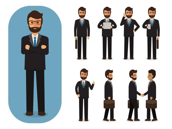 Set di uomo d'affari al lavoro. vettore