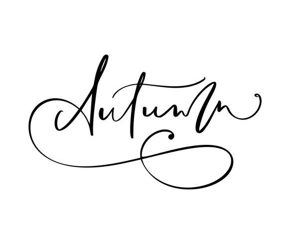 Autunno lettering calligrafia testo isolato su sfondo bianco. Illustrazione vettoriale disegnato a mano Elementi di design di poster in bianco e nero