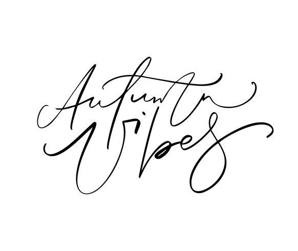 Vibes di autunno che segnano il testo di calligrafia dell'iscrizione isolato su fondo bianco. Illustrazione vettoriale disegnato a mano Elementi di design di poster in bianco e nero