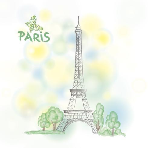 Priorità bassa della sorgente di viaggio Francia della Francia del segno famoso di Parigi vettore