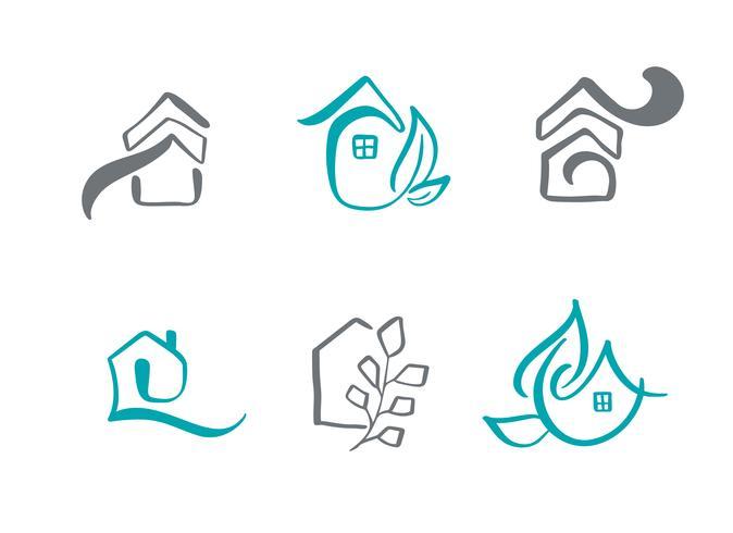 Insieme di logo disegnato a mano case di calligrafia semplice. Icone vettoriali reale. Estate Architecture Costruzione per il design. Elemento vintage casa d'arte