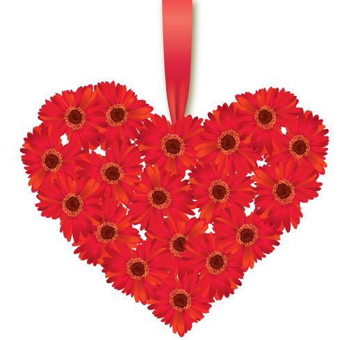 Bouquet di fiori. Cornice cuore floreale Biglietto di auguri estivo fiorito. vettore