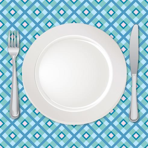 Impostazione della tabella impostata. Forchetta, coltello, cucchiaio, piatto. Servizio di posate Segno di catering vettore
