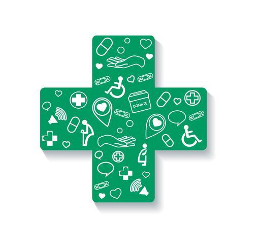 Beneficenza, donazione in icona croce medica vettore