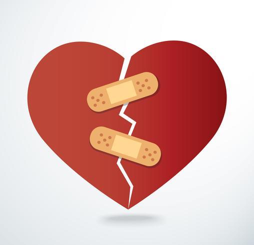cerotto sull'icona del cuore spezzato vettore