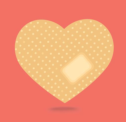 cerotto nel vettore di forma del cuore, simbolo medico